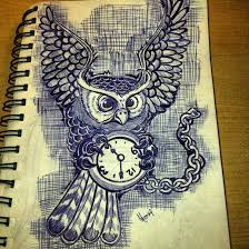 Owl Flying With Clock Tattoo Design