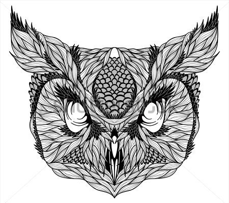 Owl Head Tattoo Stencil