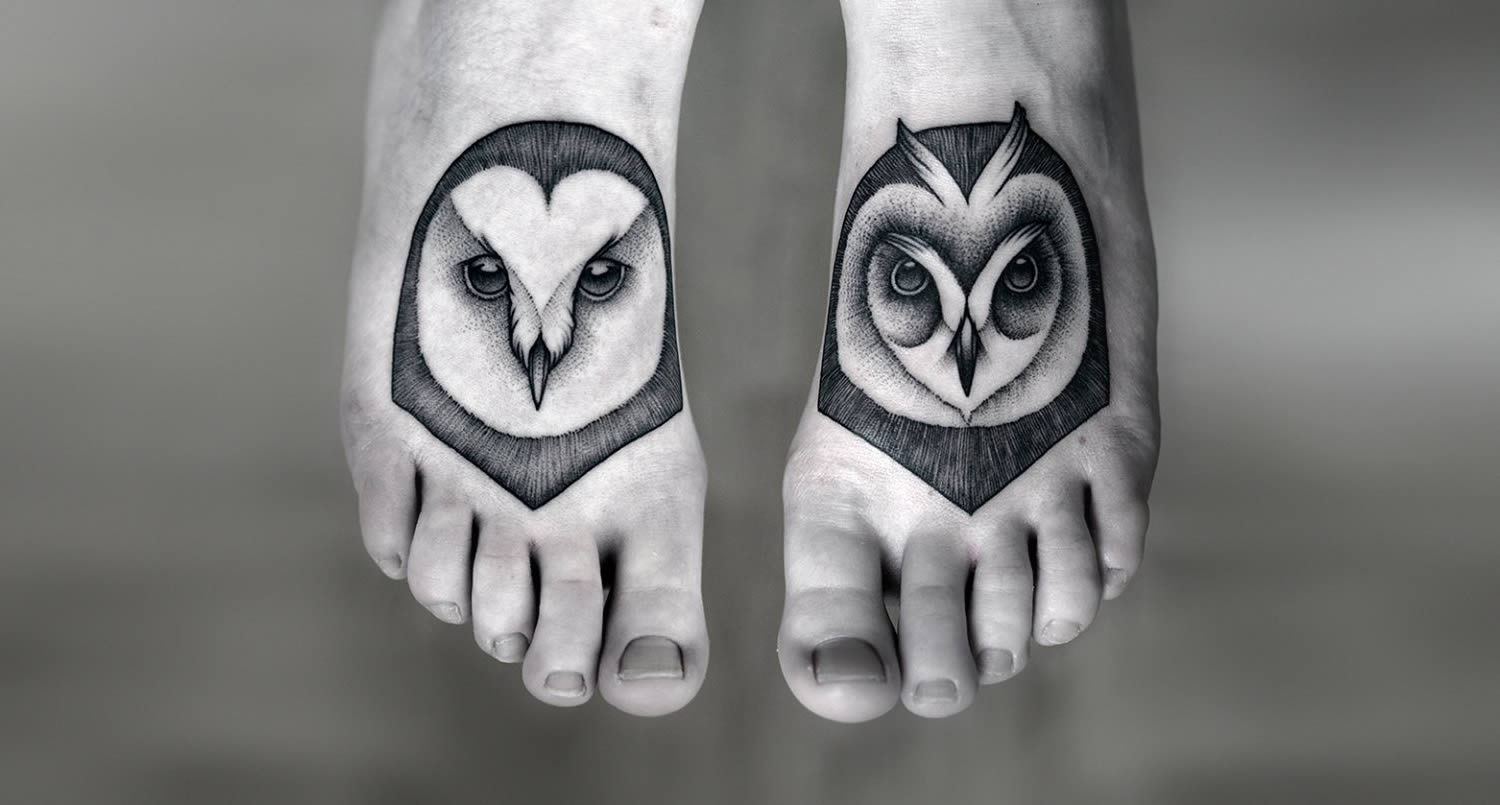 Owl Head Tattoos On Feet