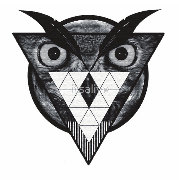 Owl Hipster Triangle Tattoo Model