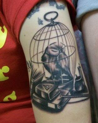 Owl In Cage And Books Tattoos