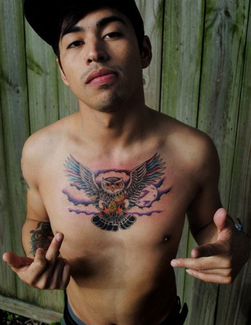 Owl In Sky Tattoo On Chest For Guys