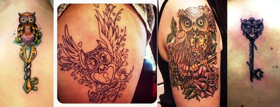 Owl Lock And Key Tattoos Images