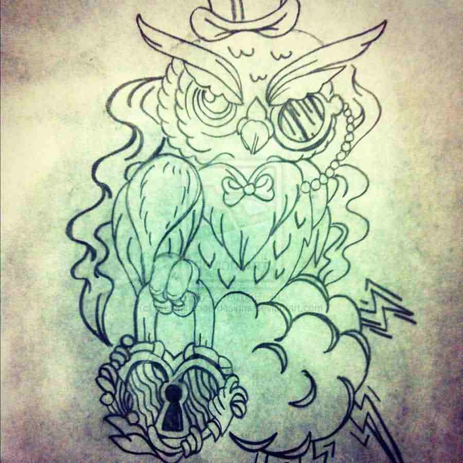 Owl Locket Tattoo Sketch
