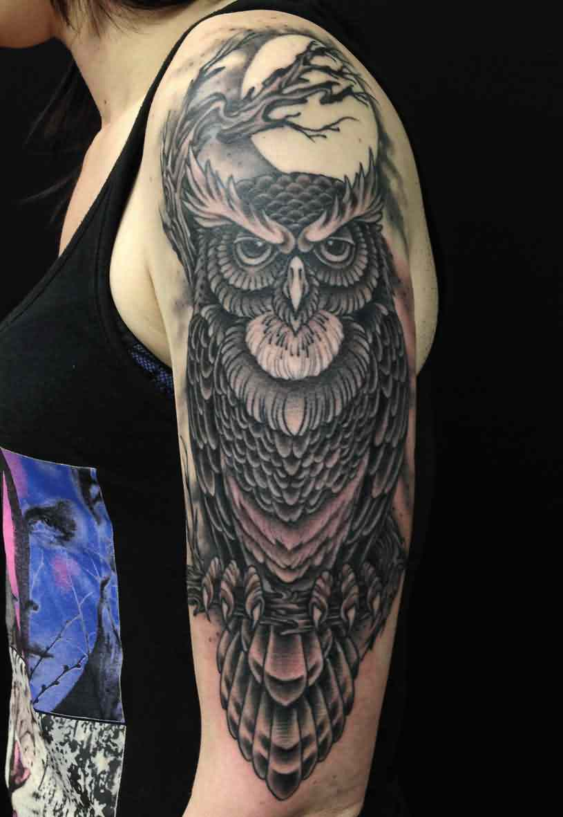 Owl Moon Branches Tattoos On Sleeve