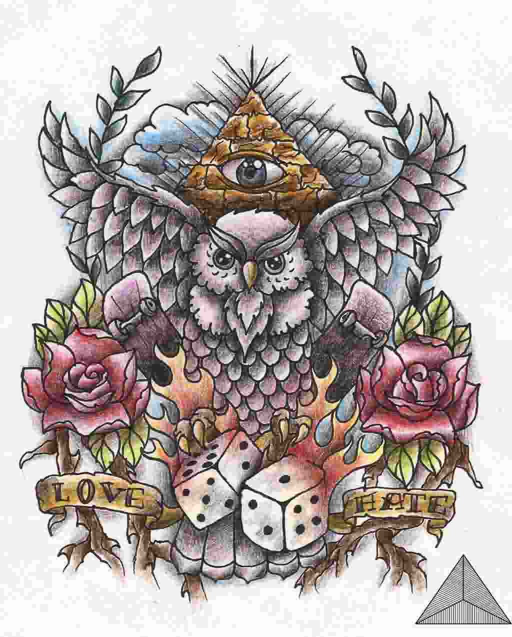 Owl Old School Tattoo Design