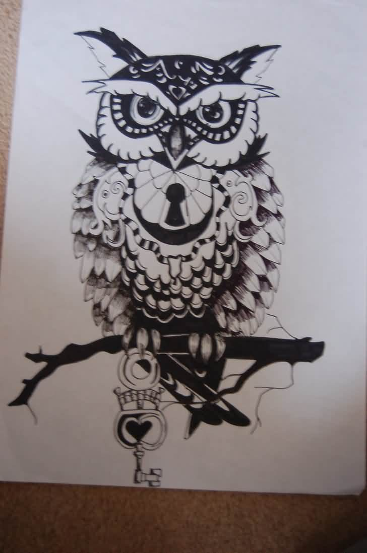 Owl On Black Branch Tattoo Design Page