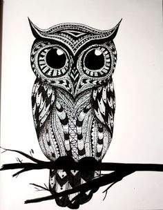 Owl On Black Branch Tattoo Design