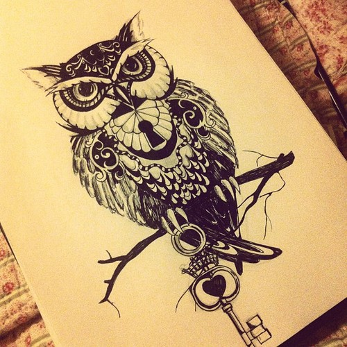 Owl On Black Branch Tattoo Page