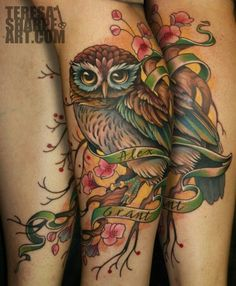 Owl On Blossom Branch Tattoo On Sleeve