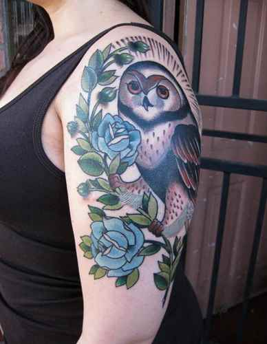 Owl On Blue Rose Branch Tattoo On Biceps