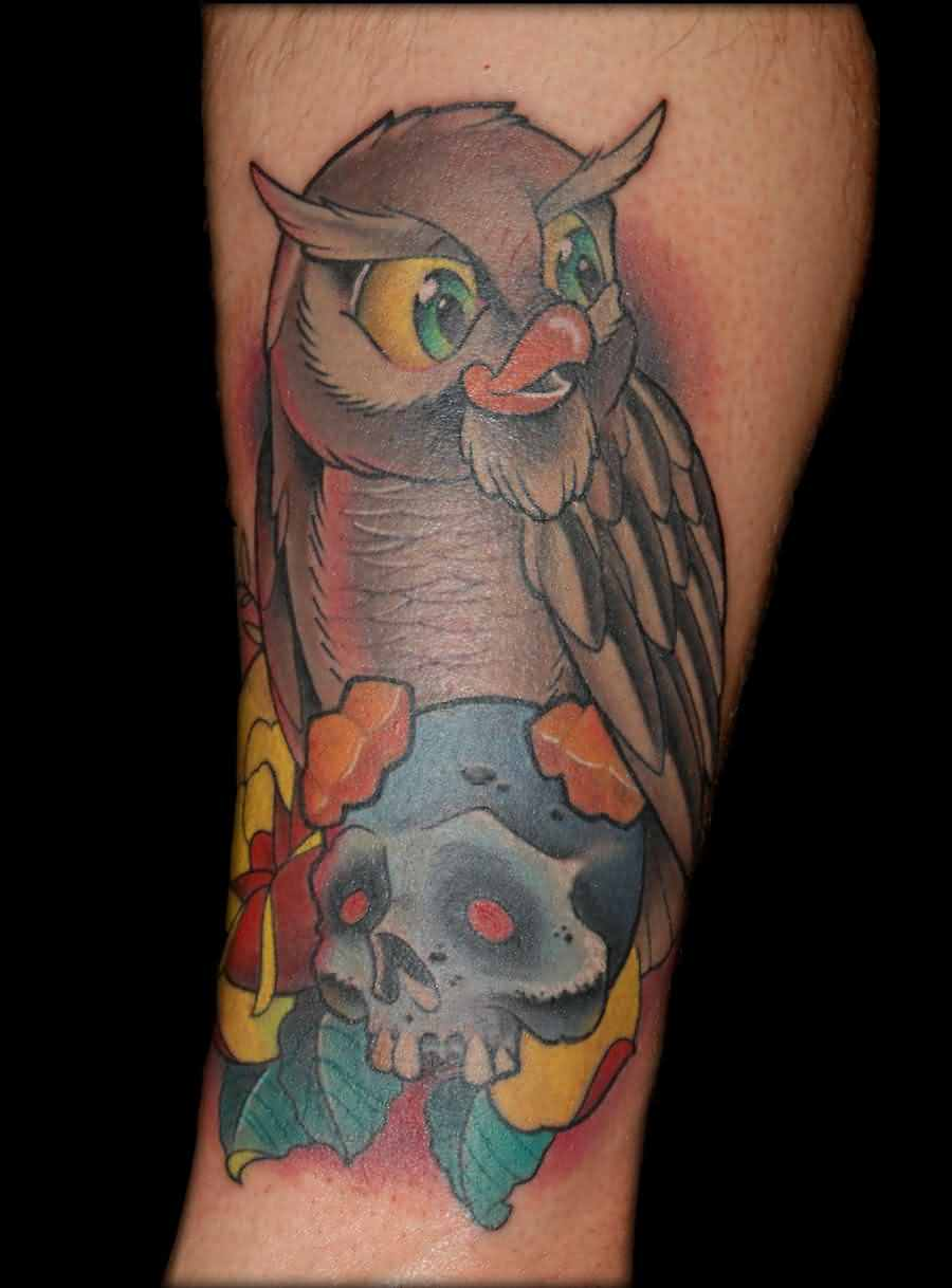 Owl On Blue Skull Tattoo