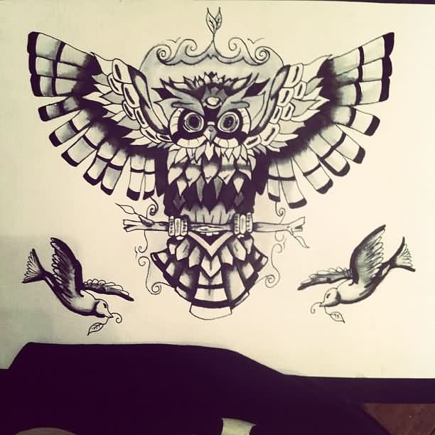 Owl On Branch And Birds Tattoo Designs