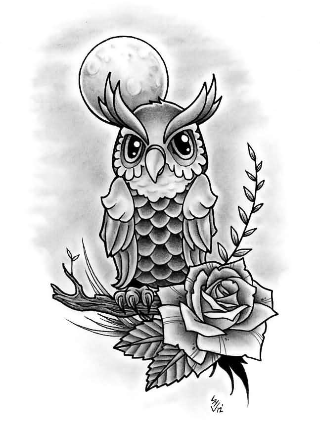 Owl On Branch And Grey Rose Tattoos Design