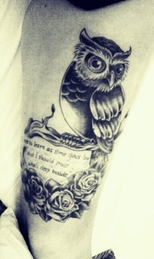 Owl On Branch And Rose Tattoos