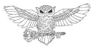 Owl On Key Tattoo Sample