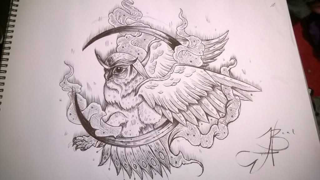 Owl On Moon Tattoo Drawing