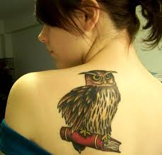 Owl On Red Book Tattoo For Girls