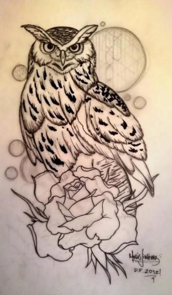 Owl On Rose Tattoo Sketch