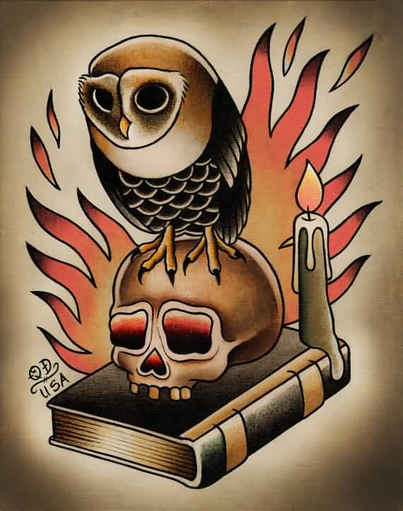 Owl On Skull Book And Flames Tattoos Print