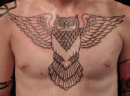 Owl Outline Tattoo On Chest