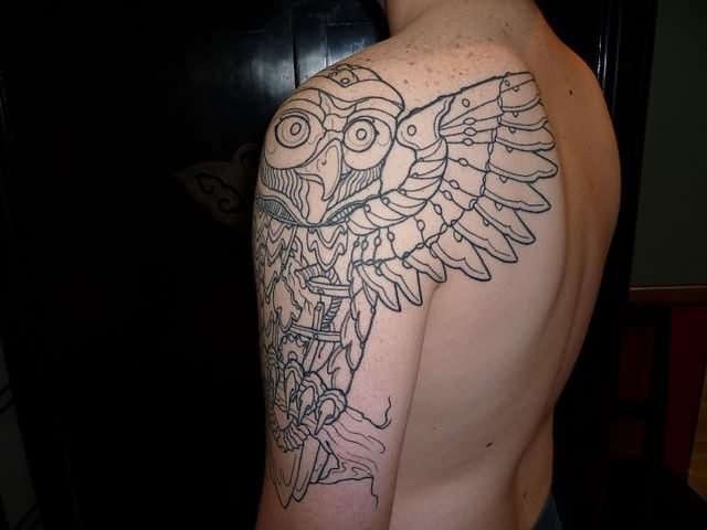 Owl Outline Tattoo On Left Half Sleeve