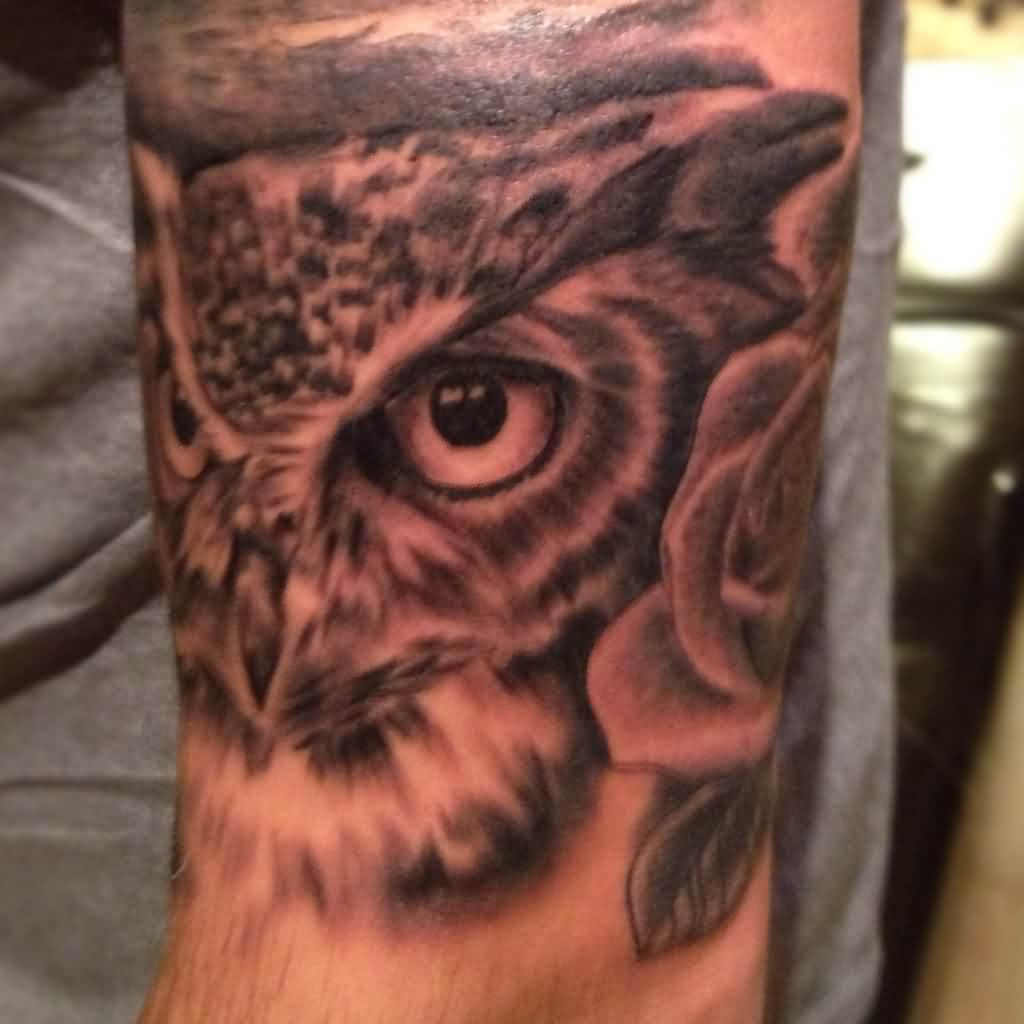 Owl Realistic Face Tattoo