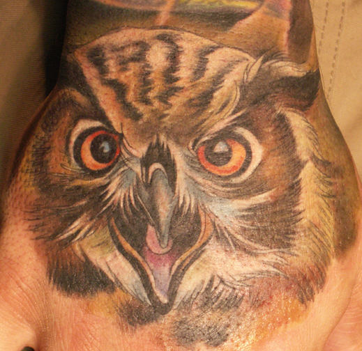 Owl Realistic Tattoo On Hand