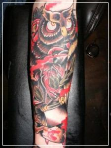 Owl Red Rose Tattoos On Sleeve