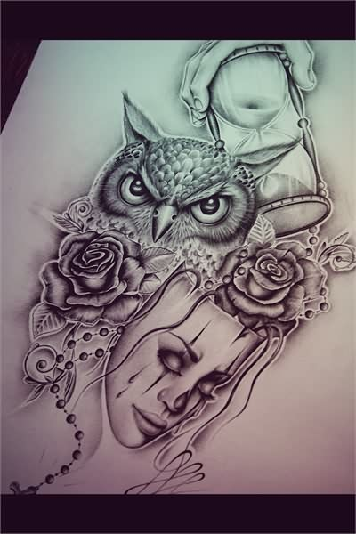 Owl Roses And Mask Tattoo Designs