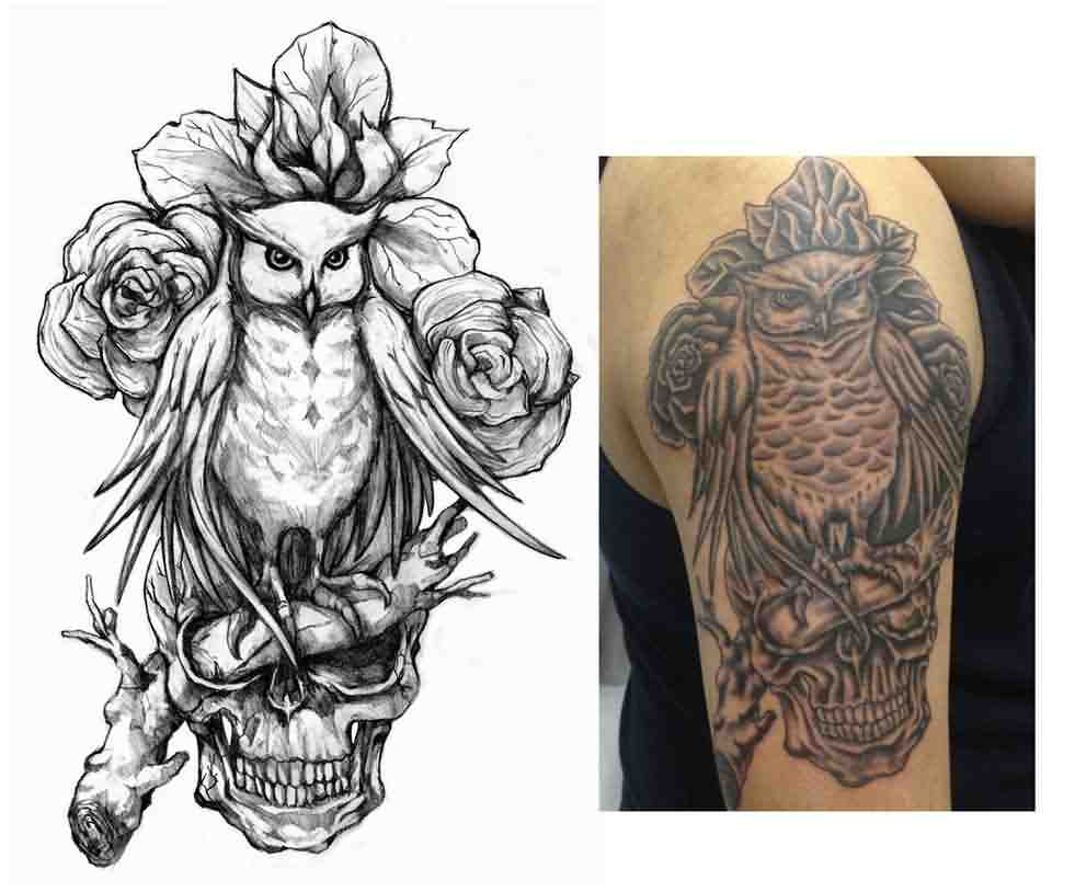 Owl Roses And Skull Tattoos On Sleeve