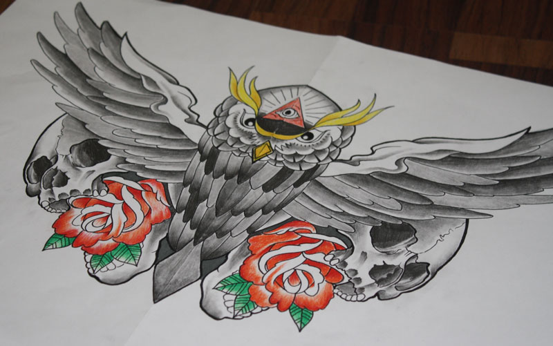 Owl Roses And Skull Tattoos Sketch
