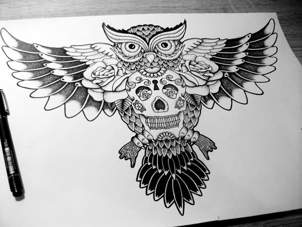 Owl Roses And Sugar Skull Tattoos Page