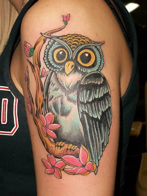 Owl Sitting On Branch Tattoo On Arm