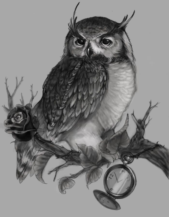 Owl Sitting On Tree Branch Tattoo Design