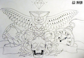 Owl Skull And Rose Chestpiece Tattoos