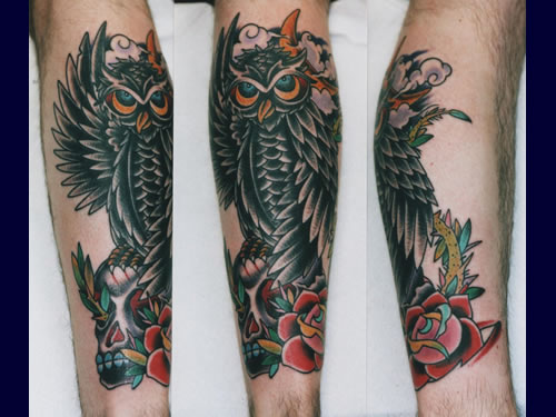 Owl Skull And Rose Tattoos On Arm