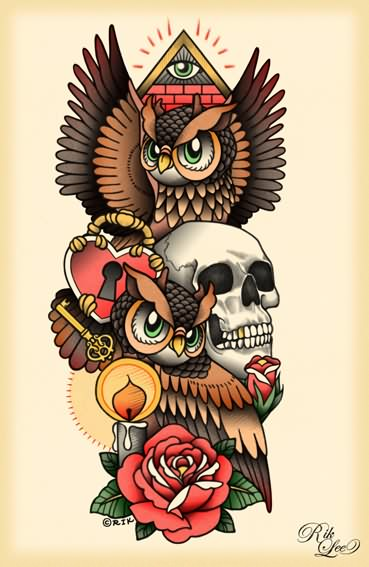 Owl Skull Candle And Red Rose Tattoo Designs