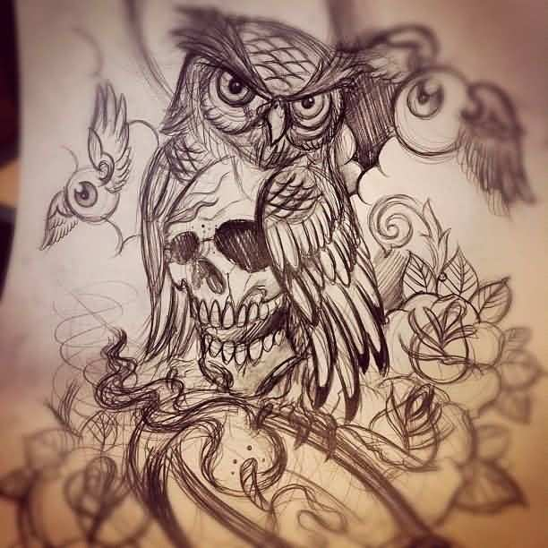 Owl Skull Tattoo Drawing