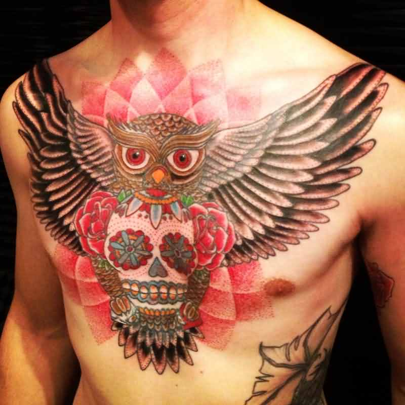 Owl Sugar Skull And Rose Tattoos On Chest