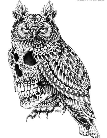 Owl Sugar Skull Tattoo Design