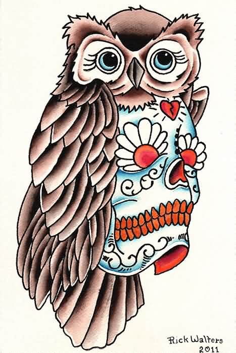 Owl Sugar Skull Tattoo Poster