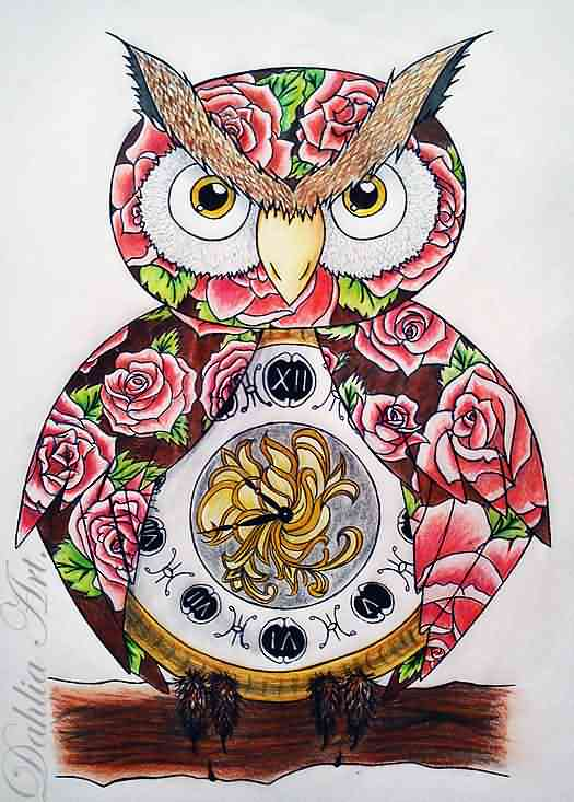 Owl Tattoo Design Finished
