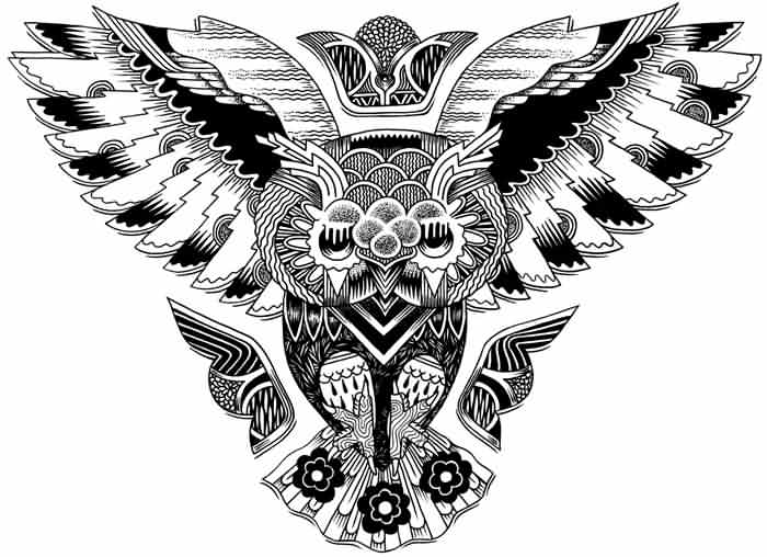 Owl Tattoo Design For Chest