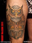 Owl Tattoo On Right Thigh