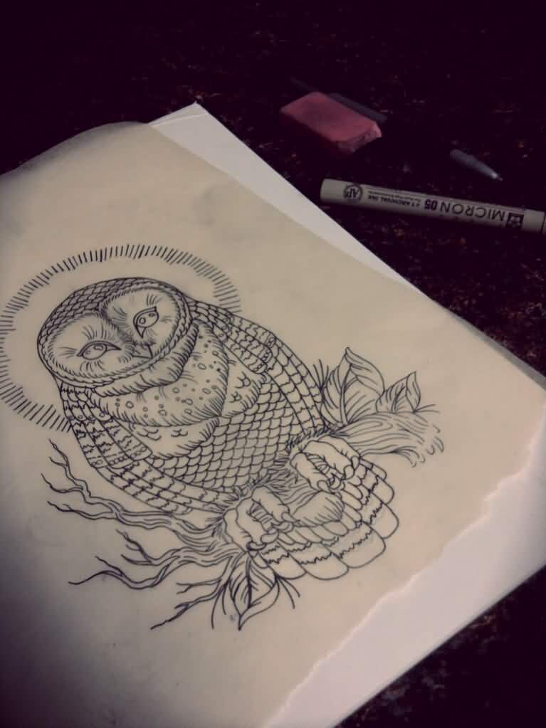Owl Tattoo Sketch Page