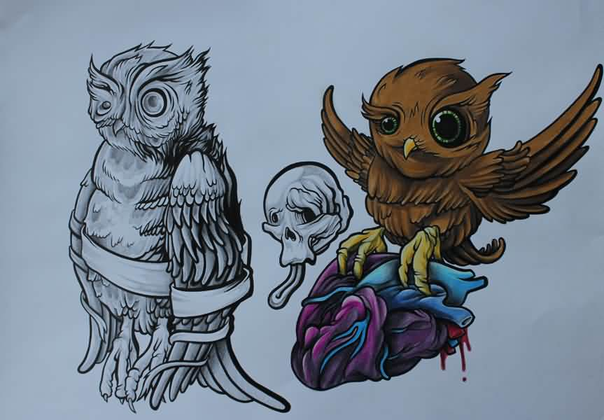 Owl Tattoos Flash