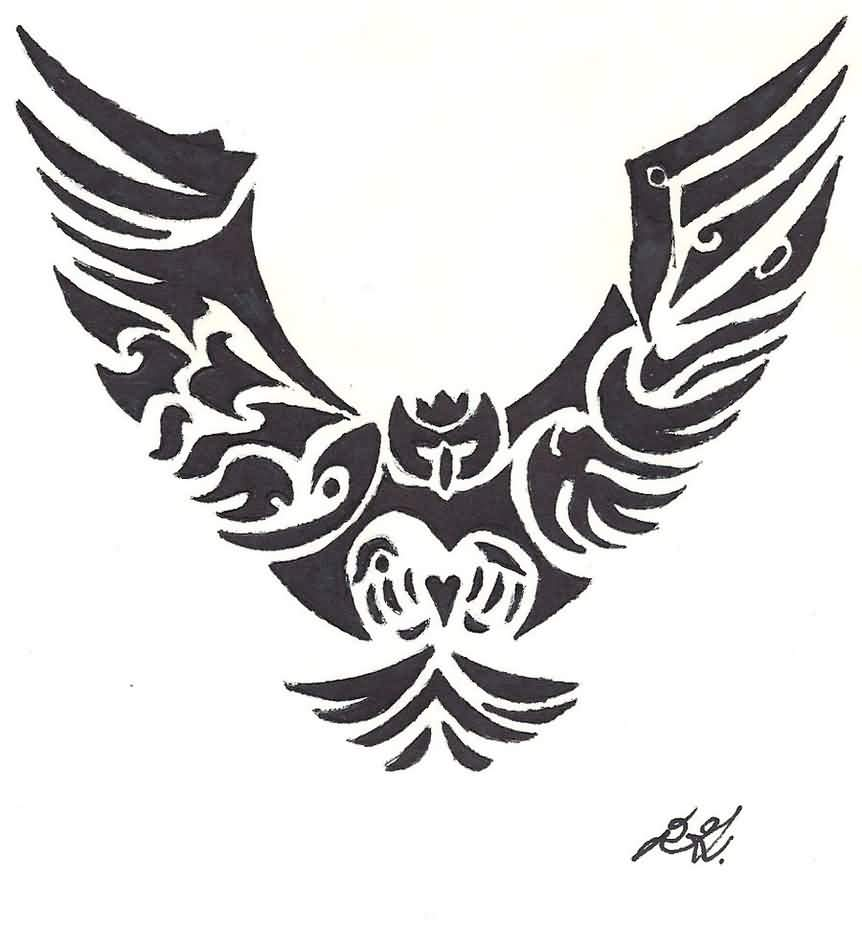 Owl Tribal Tattoo Design