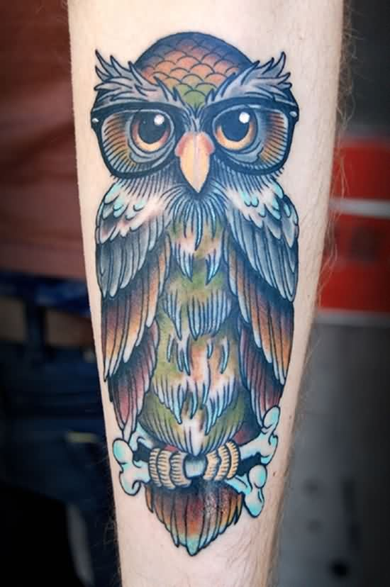 Owl Wearing Glasses Tattoo On Arm