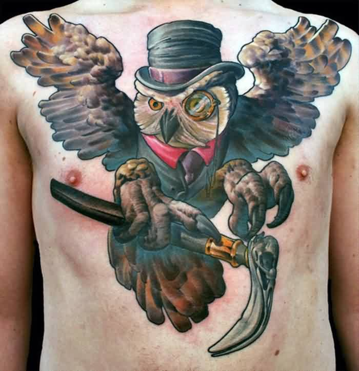 Owl Wearing Suit Tattoo On Chest